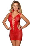 Robe rouge moulante ajourée filet Paris Hollywood