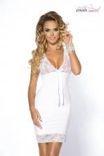 Nuisette colette - Anais : Simple mais terriblement glamour, cette nuisette en satin blanc est fabriquée en Europe par la marque Anaïs Lingerie.